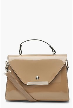 Camel beige Patent Small Structured Tote Bag