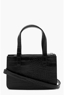 Black Croc Mini Handle Grab Crossbody Bag
