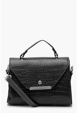 Black Croc Structured Mini Crossbody Bag
