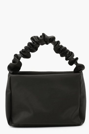 Black Shine Nylon Ruched Handle Grab Bag