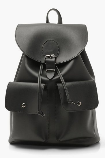Black Faux Leather Double Pocket Buckle Backpack
