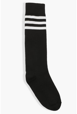 Black Sports Stripe Knee High Socks
