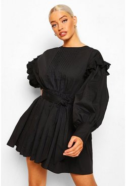 Black Batwing Skater Dress