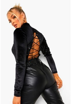 Black High Neck Lace Up Back Bodysuit With Shoulder Pads