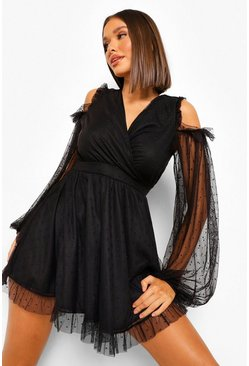 Black Cold Shoulder Dobby Skater Dress
