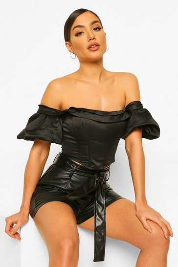 Black Bardot Extreme Sleeve Corset Top