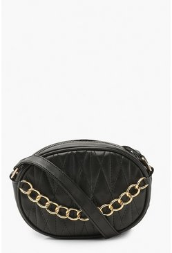 Quilt And Chain Detail Cross Body Bag, Black negro