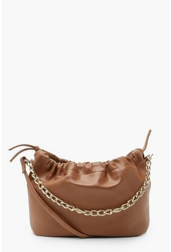 Chocolate brown Pu Bucket Bag And Chain Cross Body Bag