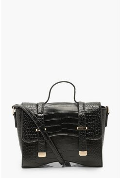 Black Mini Krokodillen Crossbody Buideltas