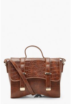 Tan brown Mini Krokodillen Crossbody Buideltas