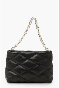 Oversized Quilted Clutch And Chunky Chain, Black noir