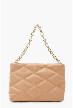 Nude Oversized Quilted Clutch And Chunky Chain