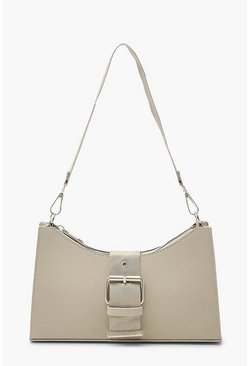 Cream white Nylon Buckle Detail Underarm Bag