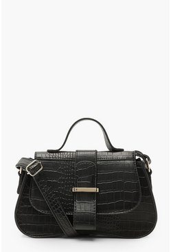 Black Croc Structured Arch Edge Cross Body Bag