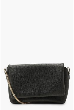 Black Textured Pu Flap Sloughy Cross Body Bag