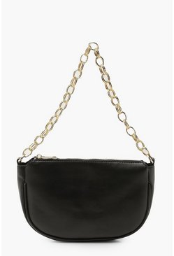 Black Chunky Textured Chain Pu Underarm Bag