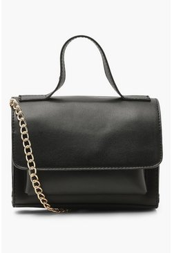 Black Mini Double Pocket Cross Body Bag