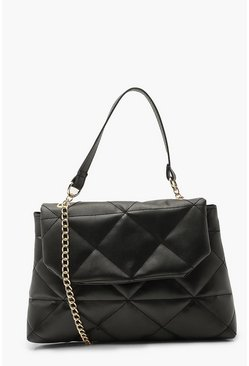 Black Quilted Detail Cross Body Bag