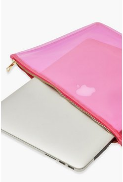 Clear Zip Top Laptop Case, Pink rose