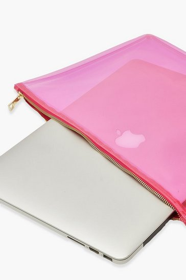 Pink Clear Zip Top Laptop Case