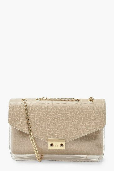 Camel beige Croc And Clear Cross Body Bag