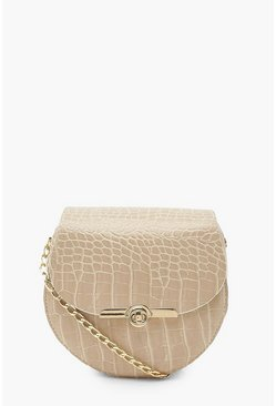 Camel beige Croc Mini Twist Lock Cross Body Bag