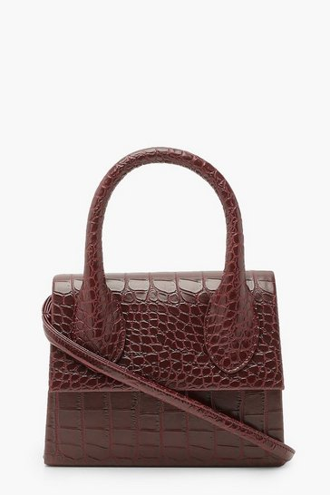 Burgundy red Croc Structured Handle Cross Body Bag