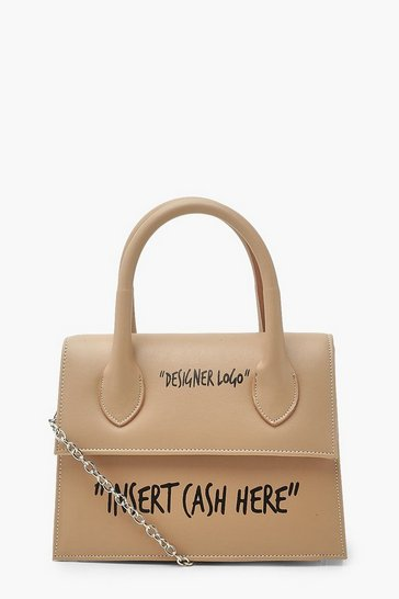 Camel beige Insert Cash Slogan Structured Cross Body Bag