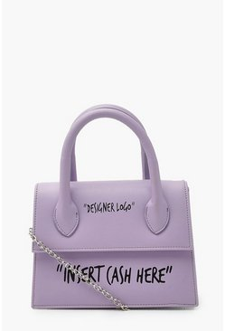 Lilac purple Insert Cash Slogan Structured Cross Body Bag