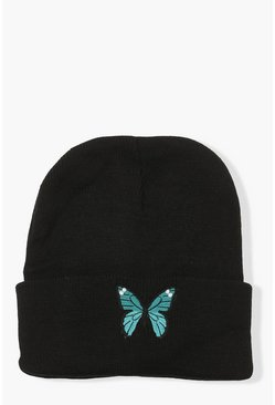 Embroidery Butterfly Beanie, Black noir