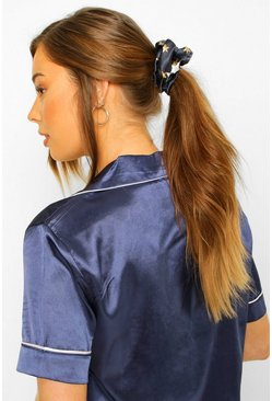 Navy Moon And Star Satin Hair Protect Scrunchie