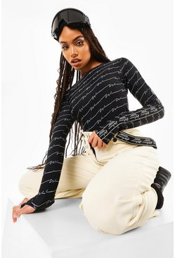 Black Woman Print Ski Layer Top