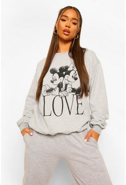 Mickey Mouse Love Disney License Sweat, Grey gris