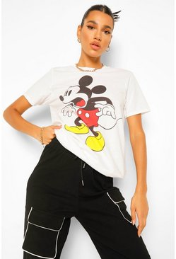 White Mickey Mouse Disney License T-Shirt