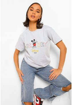 Grey marl grey Mickey Mouse Disney License T-Shirt