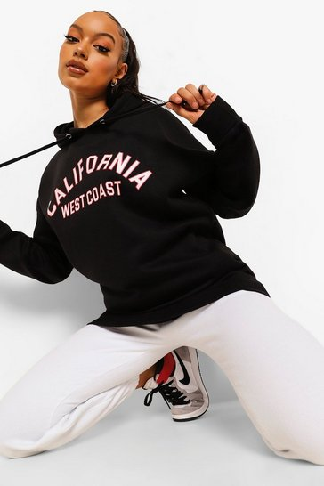 Black Oversized California Slogan Hoodie