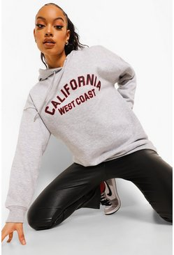Grey marl grey Oversized California Slogan Hoodie