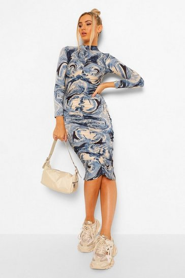 Blue Marble Print Slinky Rouched Midi Dress