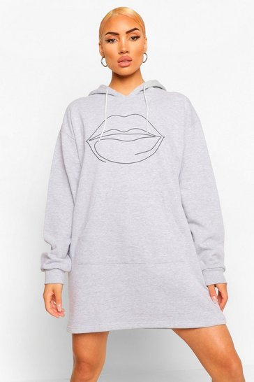 Grey marl grey Lip Scribble Print Hooded Sweat Dress