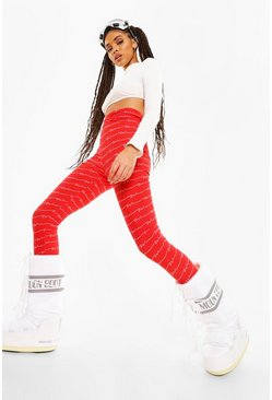 Red Woman Print Base Ski Layer Legging