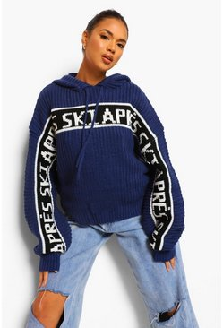 Navy Apres Ski Hooded Jumper