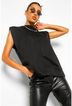 Sleeveless Shoulder Pad Sweater, Black schwarz