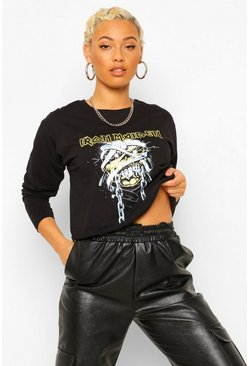 Iron Maiden Long Sleeve Crop License Print T-Shirt, Black schwarz