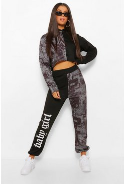 Zwart black Colour Block Joggingbroek Met Bandana Patroon