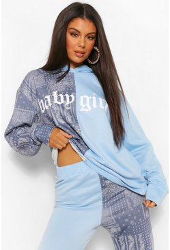 Blauw blue Sloganhoodie met colour blocking en bandanaprint