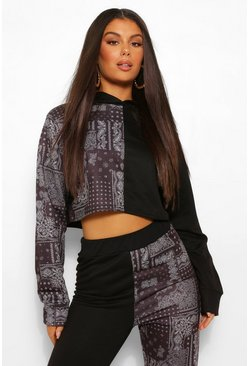 Black Colourblock Bandana Cropped Hoodie