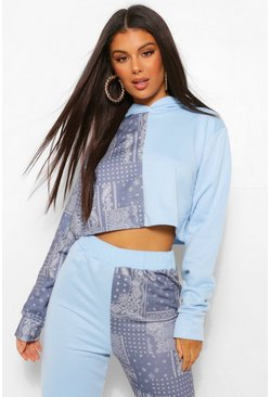 Blue Colourblock Bandana Cropped Hoodie