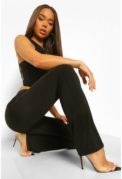 Black Ruched Tie Flare Trouser