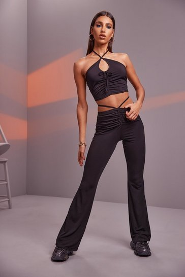 Black Ruched Tie Flare Trousers And Halter Top Co-Ord