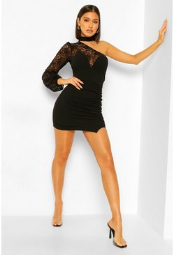 Black High Neck Lace One Shoulder Mini